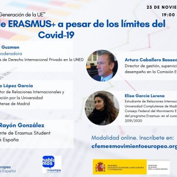 Registro: V Conferencia telemática: «La Nueva Generación de la Unión Europea»: El refuerzo de ERASMUS+ a pesar de los límites del Covid-19