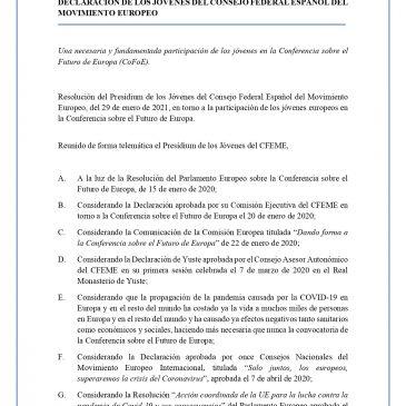 Declaración de los Jóvenes del Consejo Federal Español del Movimiento Europeo sobre la Conferencia sobre el Futuro de Europa