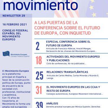 A las puertas de la Conferencia sobre el Futuro de Europa con Inquietud (newsletter nº 29 febrero de 2021)