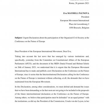Carta del Movimiento Europeo Italiano y el Movimiento Europeo Español a la Presidenta del Movimiento Europeo Internacional el 28 de enero de 2021