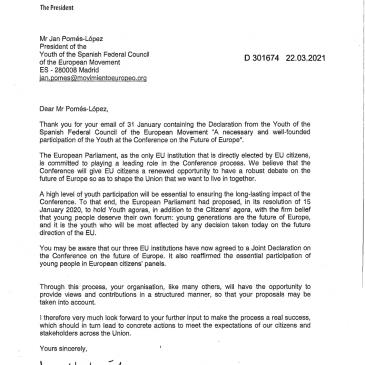 Respuesta de David Sassoli a la Declaración de los Jóvenes del CFEME sobre la Conferencia sobre el Futuro de Europa