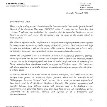 Respuesta de Dubravka Suica, Vicepresidenta de la Comisión Europea, a la Declaración de los Jóvenes del CFEME